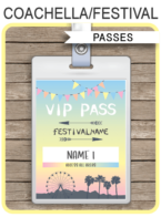 Printable Coachella Themed Party VIP Passes | Festival VIP Pass | Kidchella | Music Festival, Fete, Gala, Fair, Carnival | Editable & Printable Template | Instant Download via simonemadeit.com