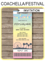 Coachella Themed Party Ticket Invitation template – pastel colors