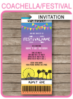 Coachella Party Ticket Invitation template – bright colors