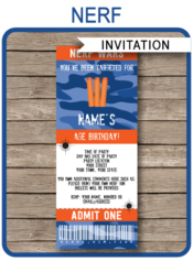 Nerf Party Ticket Invitations | Nerf Wars Birthday Party Invite | Nerf Theme Party | Editable & Printable Template | INSTANT DOWNLOAD via simonemadeit.com