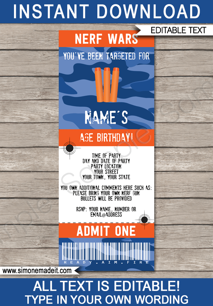 Nerf Party Ticket Invitation Template | Nerf Wars Birthday Party Invite | Nerf Theme Party | Editable & Printable Template | INSTANT DOWNLOAD via simonemadeit.com
