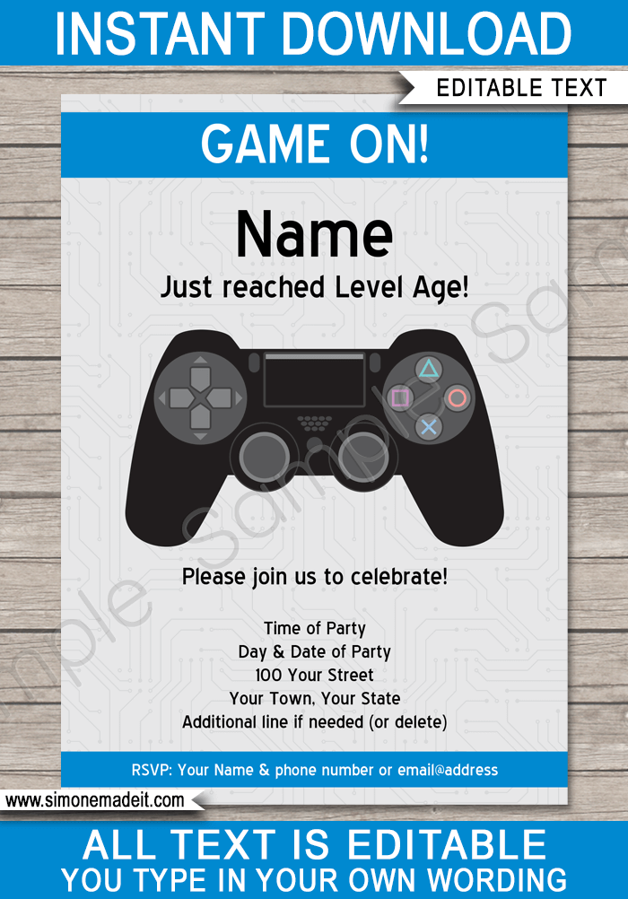 Playstation Birthday Party Invitations Template Video