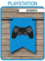 Printable Playstation Birthday Party Pennant Banner Template | Video Game Theme Happy Birthday Banner | Custom Banner | DIY Editable Template | Instant Download via simonemadeit.com