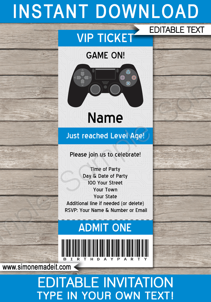 Printable Playstation Birthday Party Ticket Invitation Template | Video Game Birthday Party | Gamer Theme | Editable DIY Template | INSTANT DOWNLOAD $7.50 via simonemadeit.com