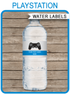 Playstation Birthday Party Water Bottle Labels template – blue