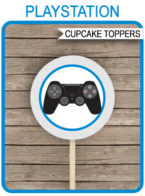 Printable Playstation Birthday Party Cupcake Toppers | Video Game Theme | 2 inch | Gift Tags | DIY Editable Template | INSTANT DOWNLOAD via simonemadeit.com