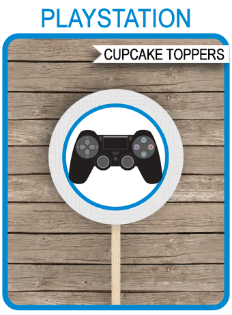 Playstation Birthday Party Cupcake Toppers Video Game Theme