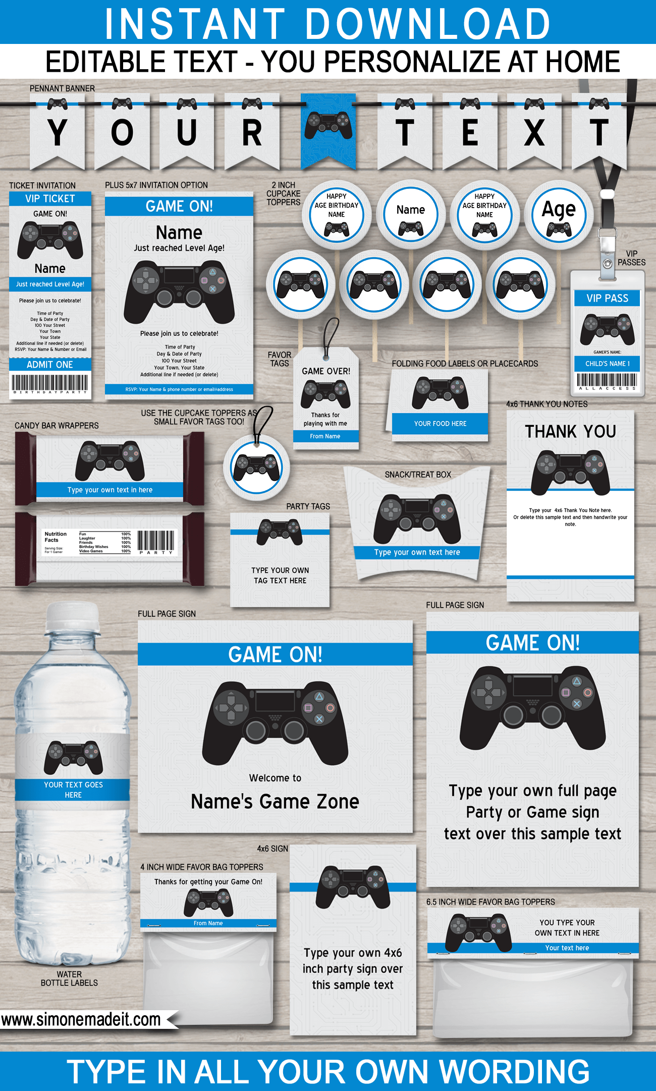 Playstation Birthday Party Printables, Invitations & Decorations - Video Game Theme - Black Playstation Controller - Gamer - Editable & Printable templates - INSTANT DOWNLOAD via simonemadeit.com