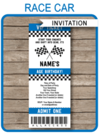 Race Car Ticket Invitations | Race Car Birthday Party Ticket Invite | Race Car Theme Party | Racing Car | Editable & Printable Template | INSTANT DOWNLOAD via simonemadeit.com