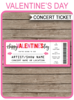 Valentine's Day Concert Gift Ticket – pink & white