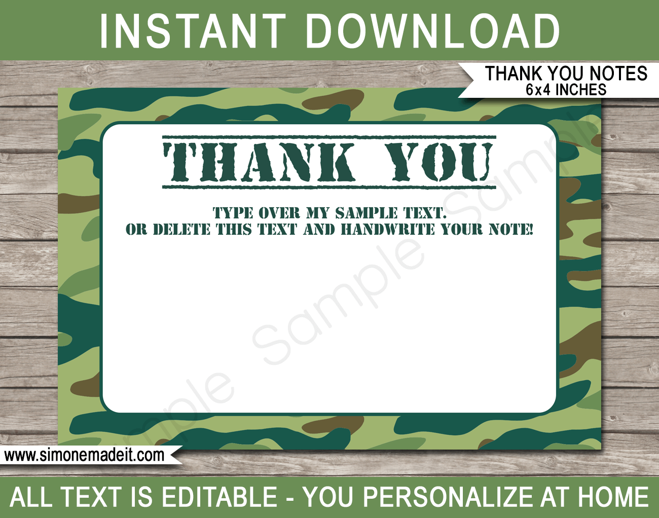 Printable Green Camo Thank You Cards - Favor Tags - Army Birthday Party theme - Editable Template - Instant Download via simonemadeit.com