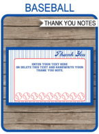 Baseball Party Thank You Cards template