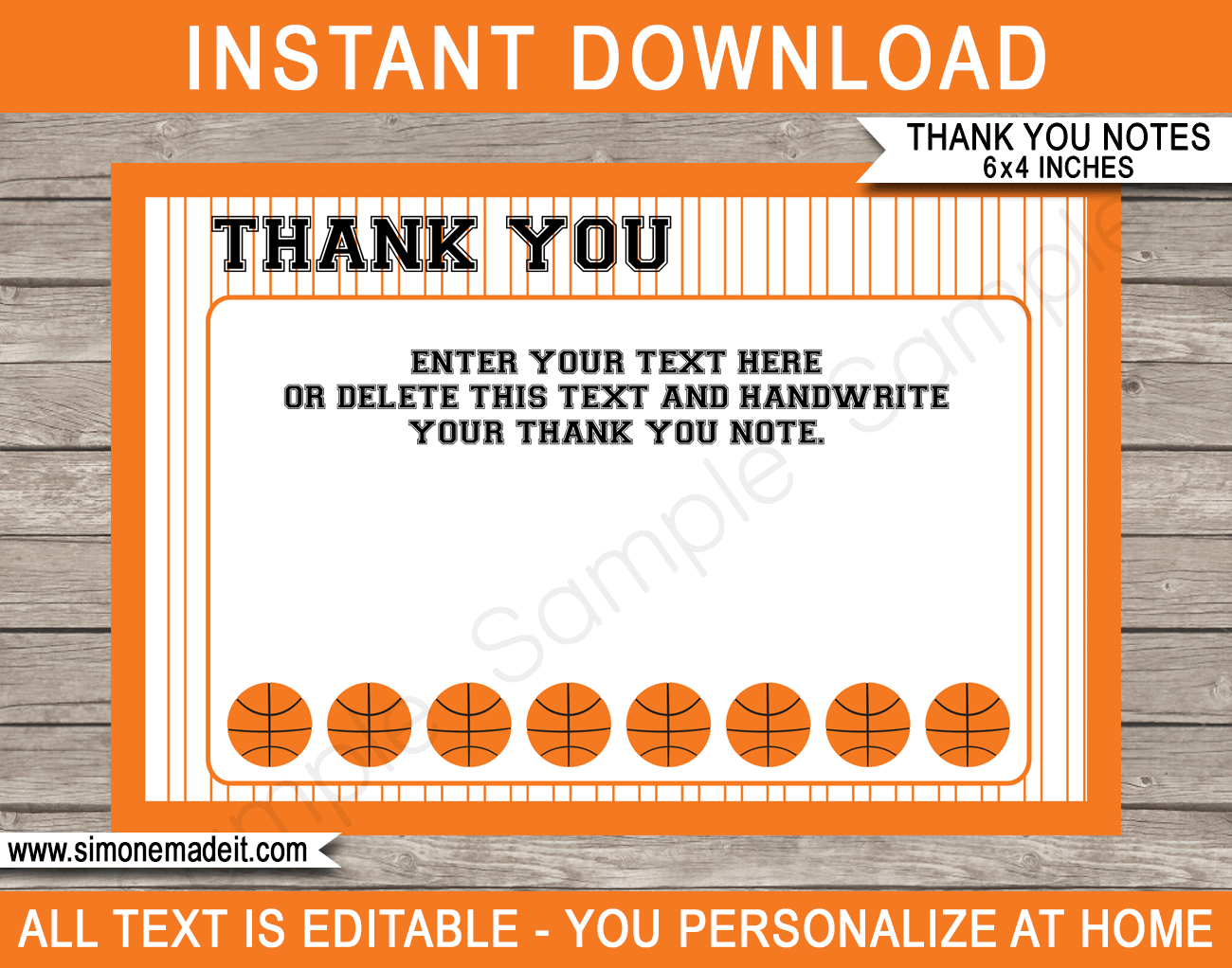 Printable Basketball Party Thank You Cards - Favor Tags - Basketball Birthday Party theme - March Madness Party - Editable Template - Instant Download via simonemadeit.com