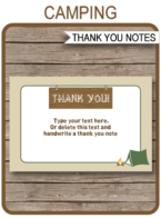 Camping Party Thank You Notes - Favor Tags - Camp or Camping Birthday Party theme - Editable Template - Instant Download via simonemadeit.com