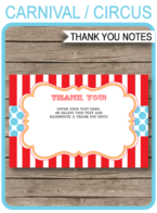 Circus Party Thank You Notes template – red/aqua