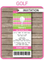 Ladies Golf Ticket Invitation Template | Golf Birthday Party Ticket Invite | Golfing Theme Party | Editable & Printable Template | Pink Green Argyle | INSTANT DOWNLOAD via simonemadeit.com