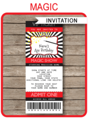 Printable Magic Ticket Invitation Template | Magic Birthday Party Ticket Invite | Magic Theme Party | Editable & Printable Template | INSTANT DOWNLOAD via simonemadeit.com