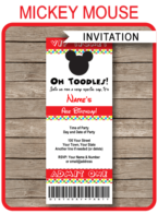 Mickey Mouse Ticket Invitation template – colorful dots