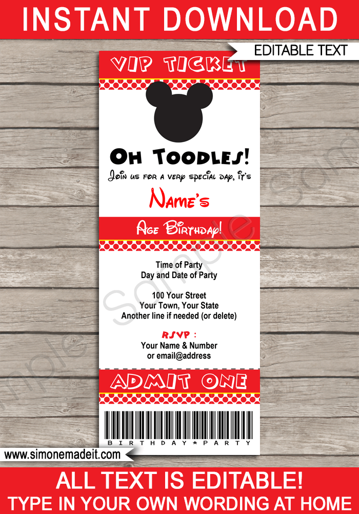 Printable Mickey Mouse Ticket Invitation Template | Mickey Mouse Birthday Party Ticket Invite | Mickey Mouse Theme Party | Editable & Printable Template | Pink | INSTANT DOWNLOAD via simonemadeit.com