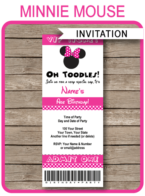 Minnie Mouse Ticket Invitation template – pink