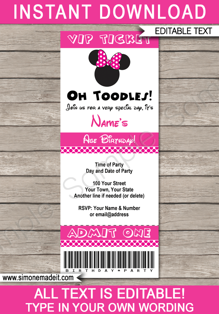 minnie mouse ticket invitation template minnie mouse party invite