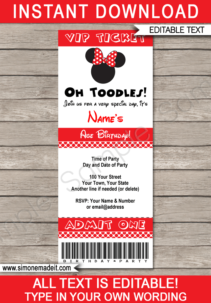 Red Minnie Mouse Party Ticket Invitation Template | Minnie Mouse Birthday Party Ticket Invite | Minnie Mouse Theme Party | Editable & Printable Template | INSTANT DOWNLOAD via simonemadeit.com