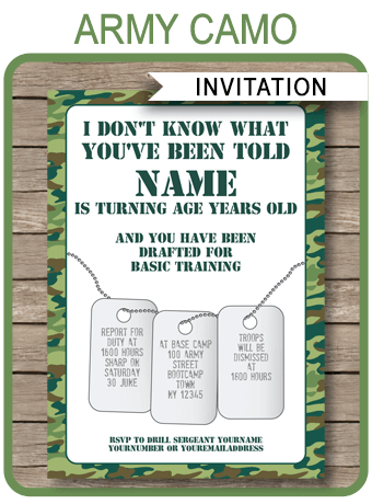 Army Party Invitation | Green Camo | Army Birthday Party ...