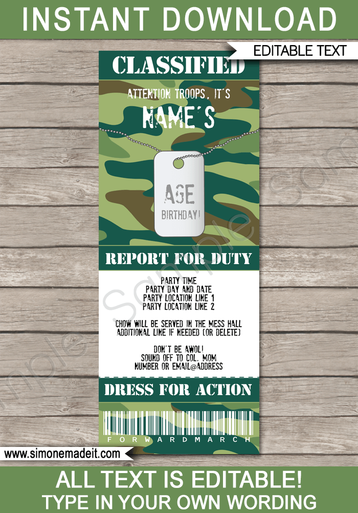 Army Party Ticket Invitation | Green Camo | Army Birthday Party Invite | Army Theme Party | Editable & Printable Template | INSTANT DOWNLOAD via simonemadeit.com