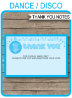 Printable Blue Disco Birthday Party Thank You Notes - Disco Ball - Favor Tags - Dance or Disco Birthday Party theme - Editable Template - Instant Download via simonemadeit.com