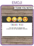 Emoji Party Thank You Cards template – girls