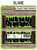 Slime Hershey Candy Bar Wrappers | Slime Birthday Party Favors | Personalized Candy Bars | Chocolate Bar Labels | Editable Template | INSTANT DOWNLOAD $3.00 via simonemadeit.com