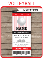 Volleyball Party Ticket Invitations | Volleyball Birthday Party Invite | Red & Black | Editable & Printable Template | INSTANT DOWNLOAD $7.50 via SIMONEmadeit.com