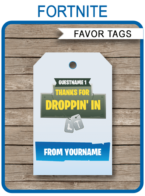 Fortnite Party Favor Tags Template – blue