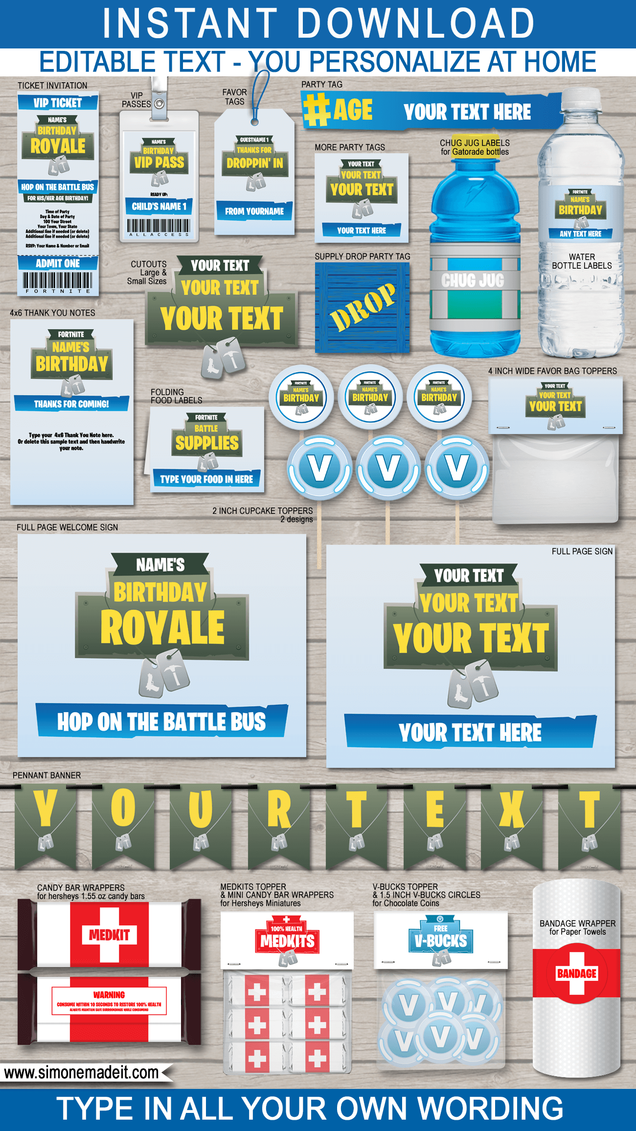 Fortnite Party Printables, Decorations & Invitations | Fortnite Birthday Party Decorations| Editable & Printable Templates | Medkit, V-Bucks, Supply Drop, Battle Royale | INSTANT DOWNLOAD via SIMONEmadeit.com