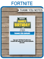 Fortnite Party Thank You Cards template – blue