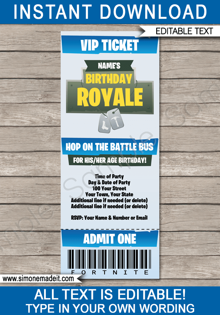 Fortnite Party Ticket Invitation Template