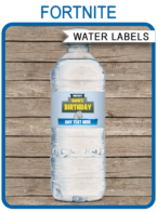 Printable Fortnite Party Water Bottle Labels | Fortnite Theme Birthday Party Template | Chug Jug | Slurp Juice | Napkin Wraps | Treat Wraps | Printable Party Decorations | INSTANT DOWNLOAD via simonemadeit.com #fortniteparty