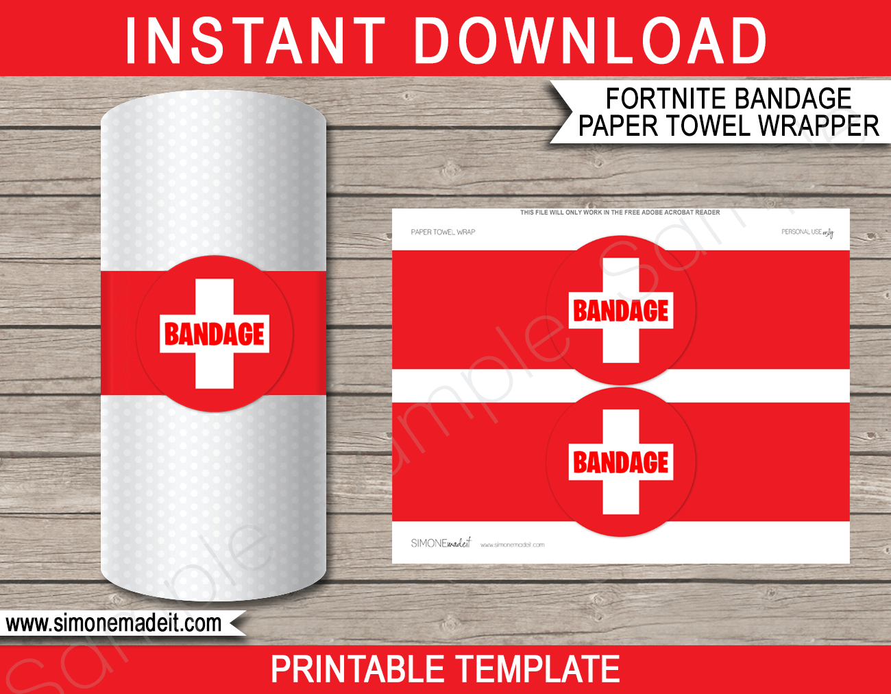 Fortnite Bandage Paper Towel Printable Template | DIY Bandage | Fortnite Theme Party Decorations | Instant Download via simonemadeit.com