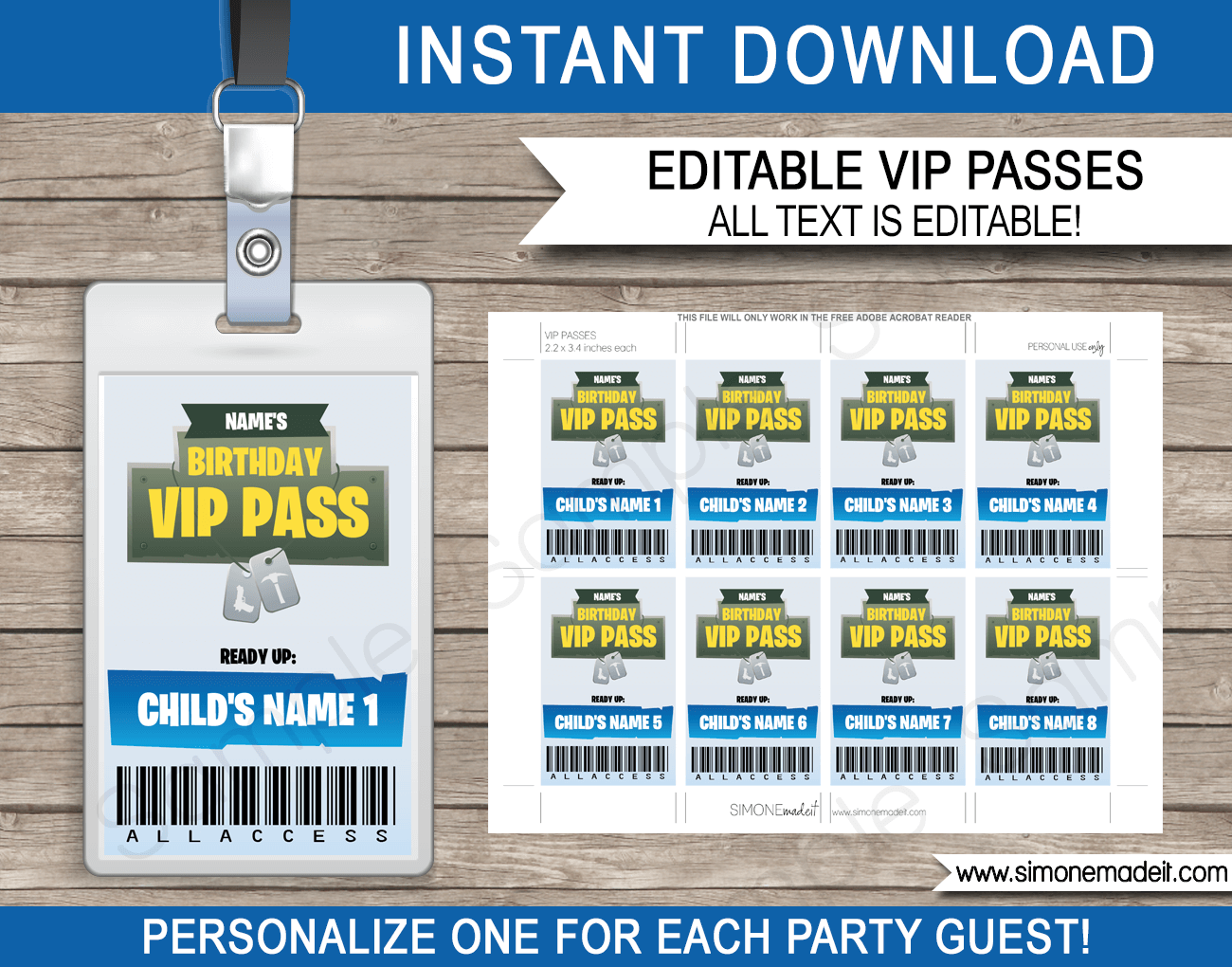 Printable Fortnite Party VIP Passes | Video Game Birthday Party | Fortnite Theme | Printable Template with editable text | INSTANT DOWNLOAD via simonemadeit.com