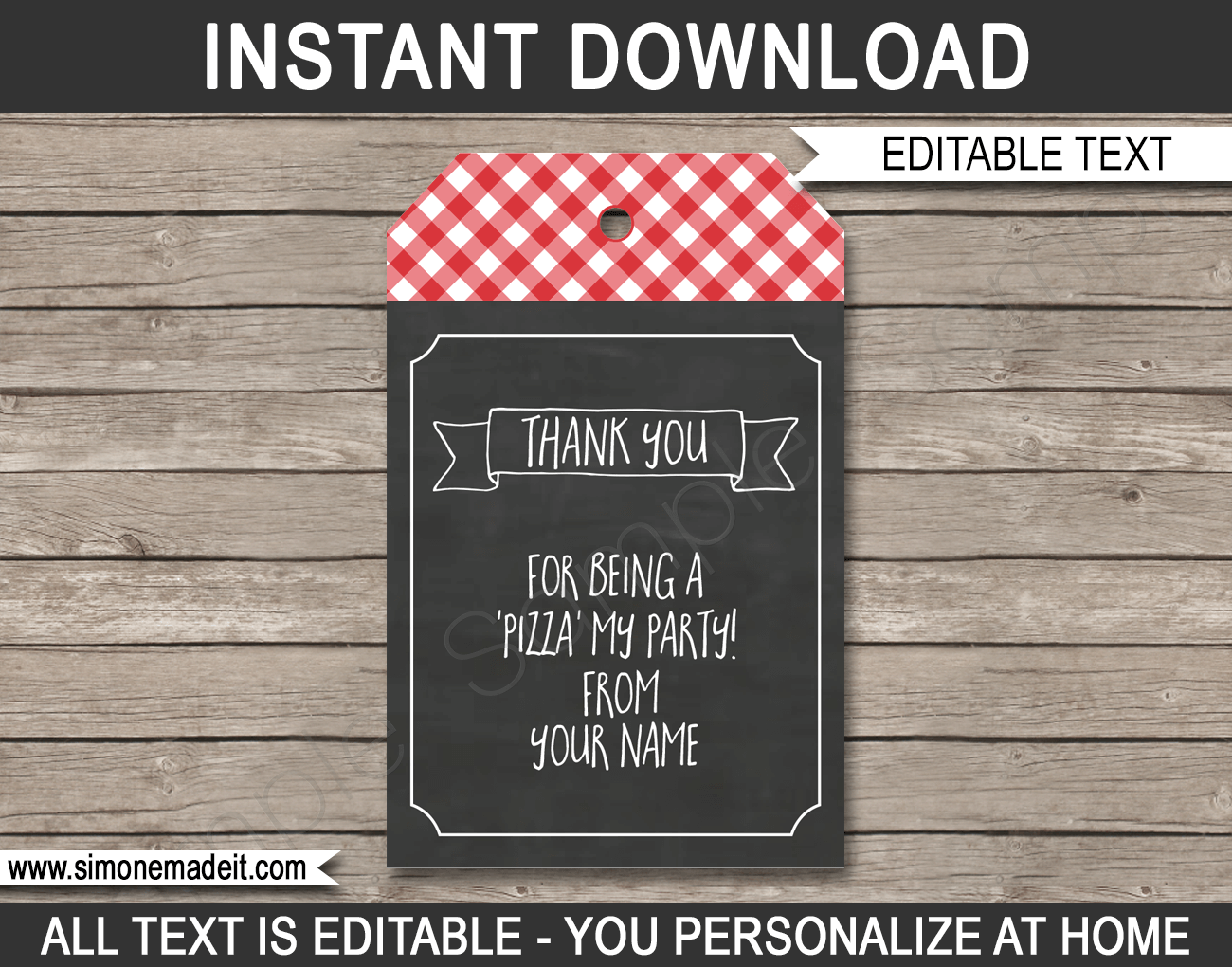 Pizza Party Favor Tags | Thank You Tags | Pizza Birthday Party Theme | Editable DIY Template | INSTANT DOWNLOAD via SIMONEmadeit.com
