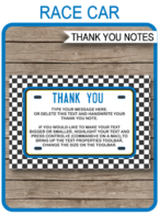 Race Car Birthday Thank You Cards template – blue