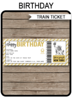 Birthday New York Train Ticket Boarding Pass – gold & white