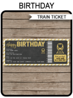 Birthday Gift Train Ticket Boarding Pass | Surprise Trip, Getaway, Holiday, Vacation | Fake Ticket | Surprise Train Trip Reveal Announcement | Gold Glitter & Chalkboard | Birthday Present | DIY Editable & Printable Template | Instant Download via simonemadeit.com