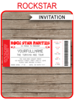 Rockstar Birthday Party Ticket Invitations Template – red