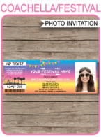 Coachella Inspired Photo Ticket Invitation Template | Coachella Theme Birthday Party | Festival Invite | Kidchella, Fauxchella, Music Festival, Fete, Gala, Fair, Carnival | DIY Editable & Printable Template | Instant Download via simonemadeit.com #coachellainvites #coachellainvitation