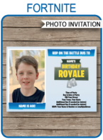 Printable Fortnite Theme Photo Invitation Template | Fortnite inspired Birthday Party invite | Hop on the Battle Bus | Game Bus | Editable & Printable Template | Instant Download via simonemadeit.com #fortniteinvitation