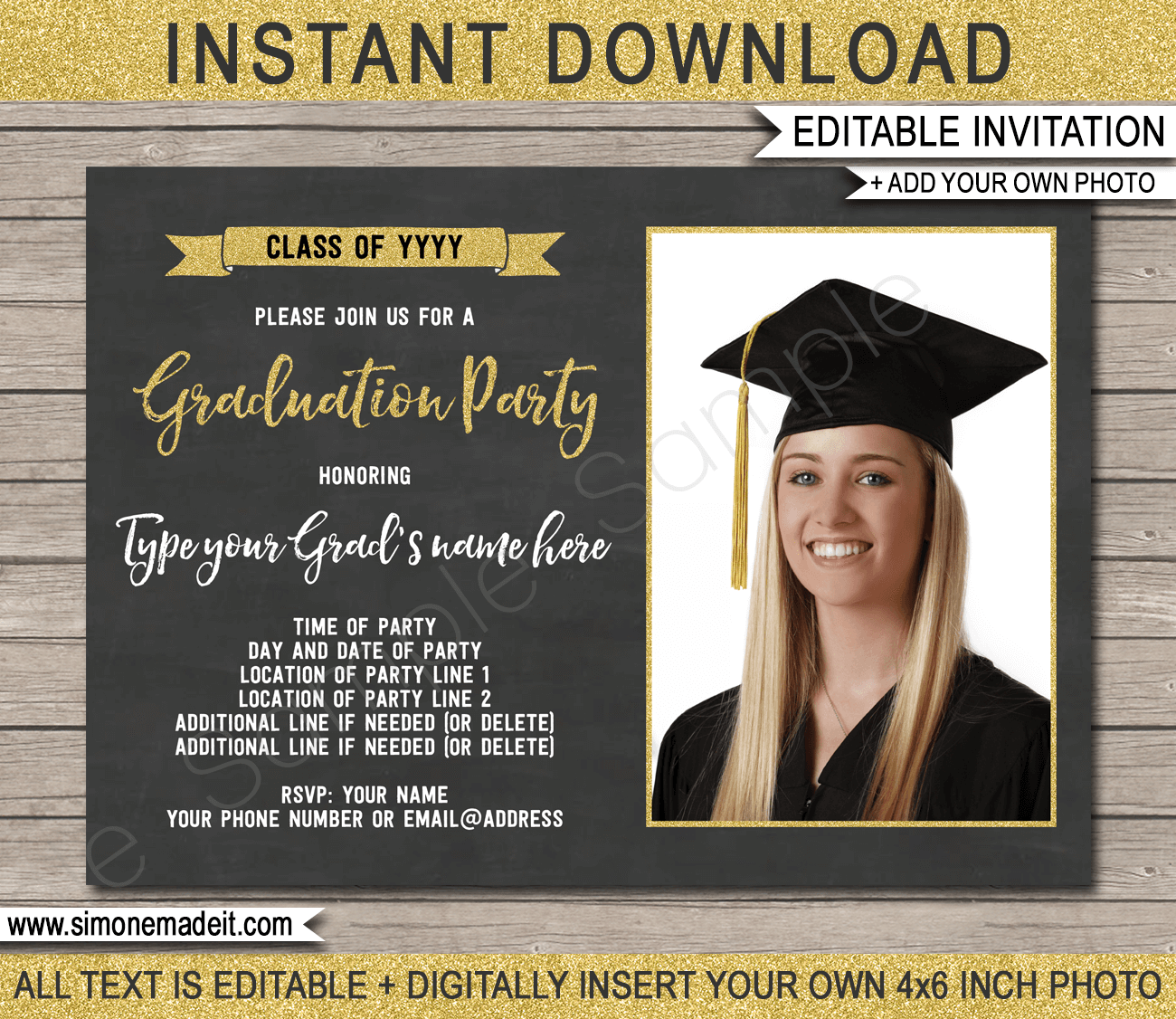 Printable Graduation Photo Invitation Template | Graduation Party Invite | Gold Glitter & Chalkboard | Editable & Printable Template | Instant Download via simonemadeit.com #graduationinvitation #gradinvite