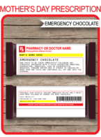 Printable Mom Prescription Chocolate Hershey Candy Bar Wrappers | Emergency Chocolate | Personalized Candy Bars | Editable Template | Funny Prank Custom Gag Gift | Mothers Day Gift | Birthday Gift | DIY Fake Pharmacy Rx Prescription Label | INSTANT DOWNLOAD via simonemadeit.com| INSTANT DOWNLOAD via simonemadeit.com