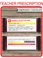 Printable Teacher Prescription Chocolate Hershey Candy Bar Wrappers | Emergency Chocolate | Personalized Candy Bars | Editable Template | Funny Prank Custom Gag Gift | Teacher Appreciation Gift, End of Year Gift, Back to School Gift, Birthday Gift, Christmas Gift | DIY Fake Pharmacy Rx Prescription Label | INSTANT DOWNLOAD via simonemadeit.com| INSTANT DOWNLOAD via simonemadeit.com