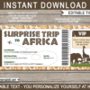 Surprise Trip to Africa Fake Boarding Pass Template